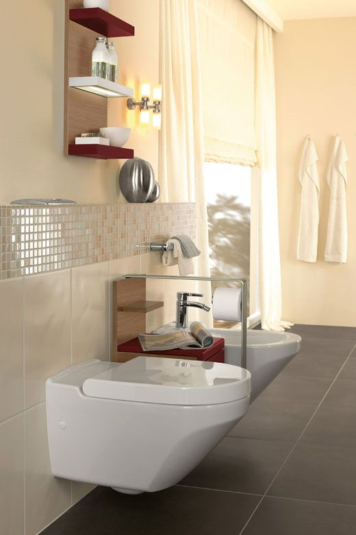 MyConsiglidiCasa: Bagno > Villeroy & Boch Lifetime  Il colore scuro e la posa dritta delle piastrelle a pavimento sono riservate ai bagni grandi, da evitare per quanto possibile in quelli di piccole dimensioni.