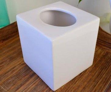 White Ceramic Tissue Box Cover - Contemporary - Tissue Box Holders ...