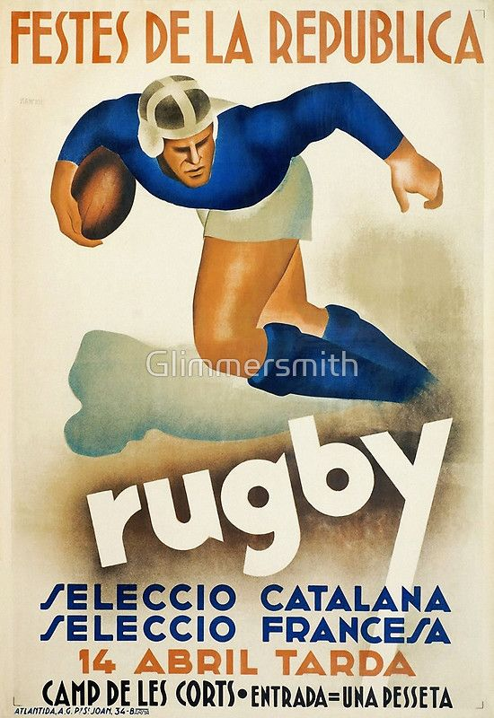 Vintage Art Deco Rugby sport travel poster