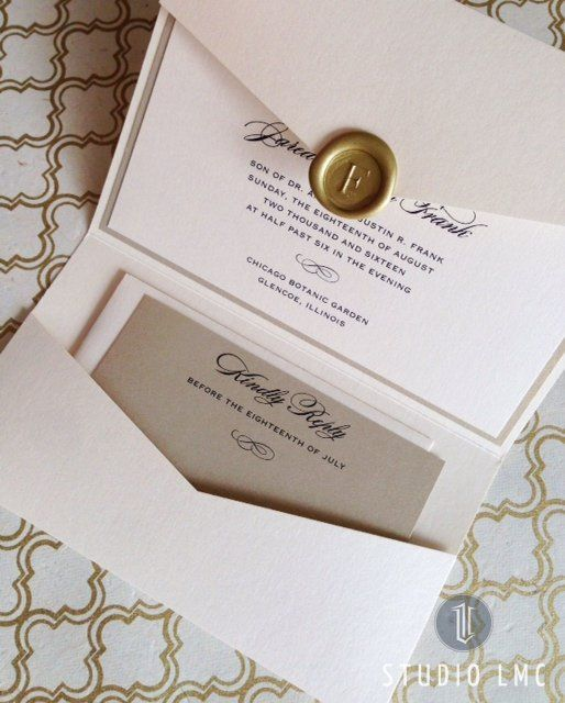 custom pearl and gold shimmer pocketfold wedding invitation with gold wax seal by studioLMC.com