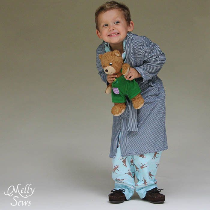 Make this easy kids robe in sizes 18m-8 with this free robe pattern