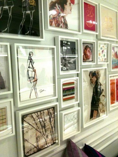 #art in #white #frames great idea for dorm room