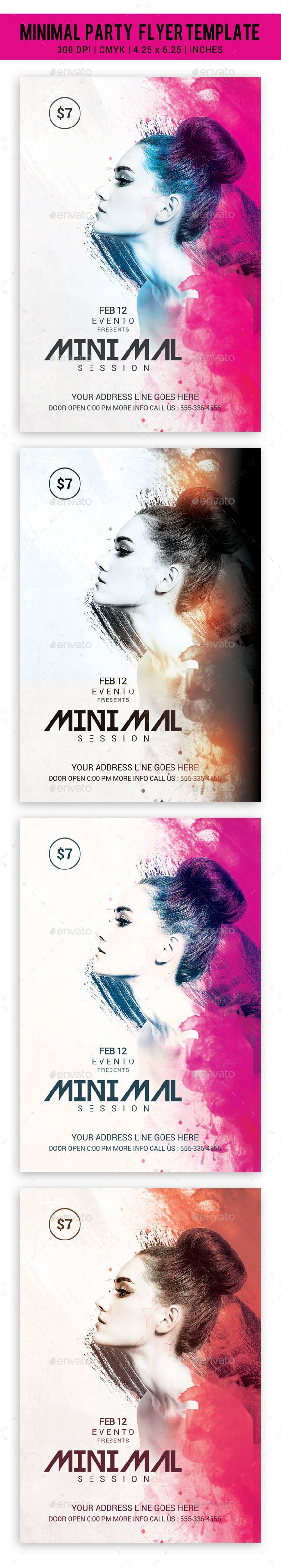 Poster design in photoshop 7 - Minimal Party Flyer Template