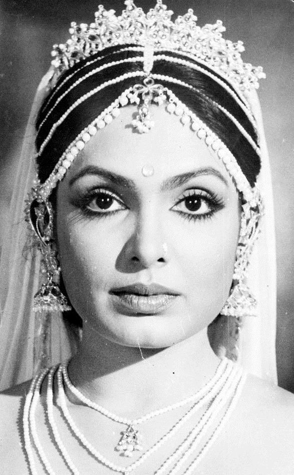 Portrait of Hindi Movie Actress Parveen Babi - 1970's or Early 80's - Old Indian Photos