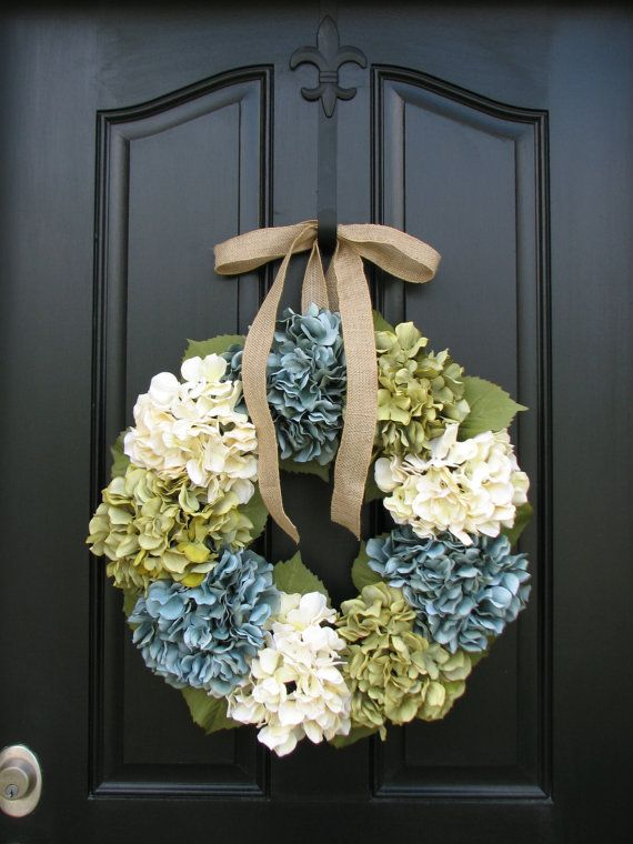 Shabby Chic Decor Wreaths  Hydrangea Wreath   by twoinspireyou, $90.00