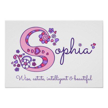 #S monogram art Sophia girls name meaning poster - #nurseryart #nursey #art #baby #cute #print #babies