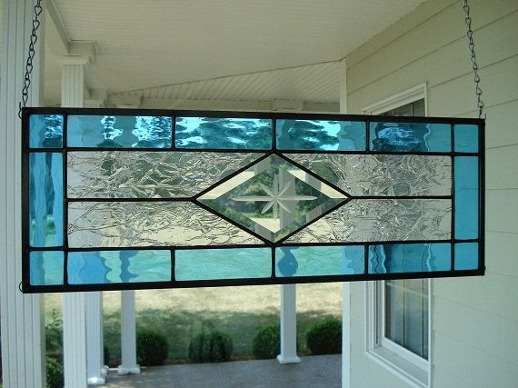 Stained Glass Window Panel Transom Aqua by TheGlassShire on Etsy
