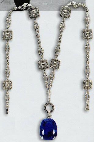 Cartier diamond necklace, Queen Marie of Romania Sapphire
