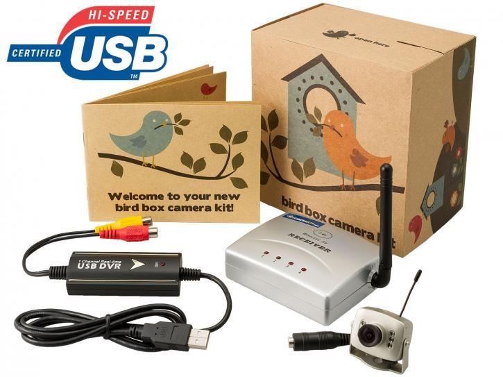 Wireless mini bird box camera and USB receiver pack Tiny camera records 700TVL resolution for crisp video images