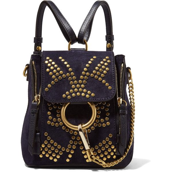 Chloé Faye mini studded suede and leather backpack ($1,990) ❤ liked on Polyvore featuring bags, backpacks, navy, leather backpack, leather daypack, leather rucksack, navy blue backpack and chloe backpack