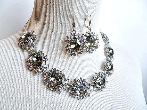 Swarovski Rhinestone Glam Necklace & Earrings by Vintage