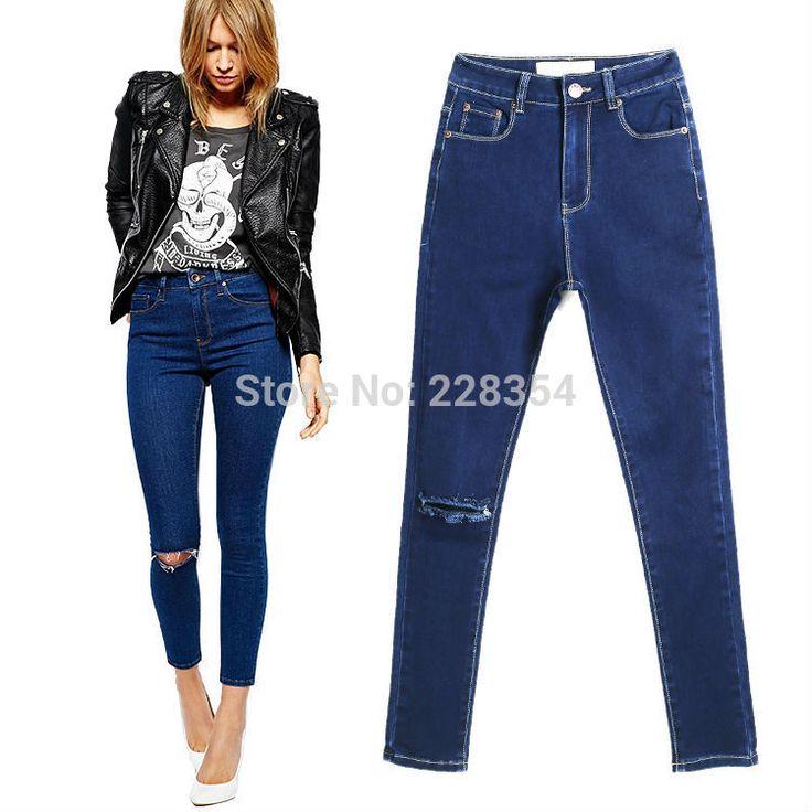 2014 High Waist Ultra Skinny Ankle Grazer Jeans in Rich Dark Wash Blue With Ripped Knee for feminino women girl