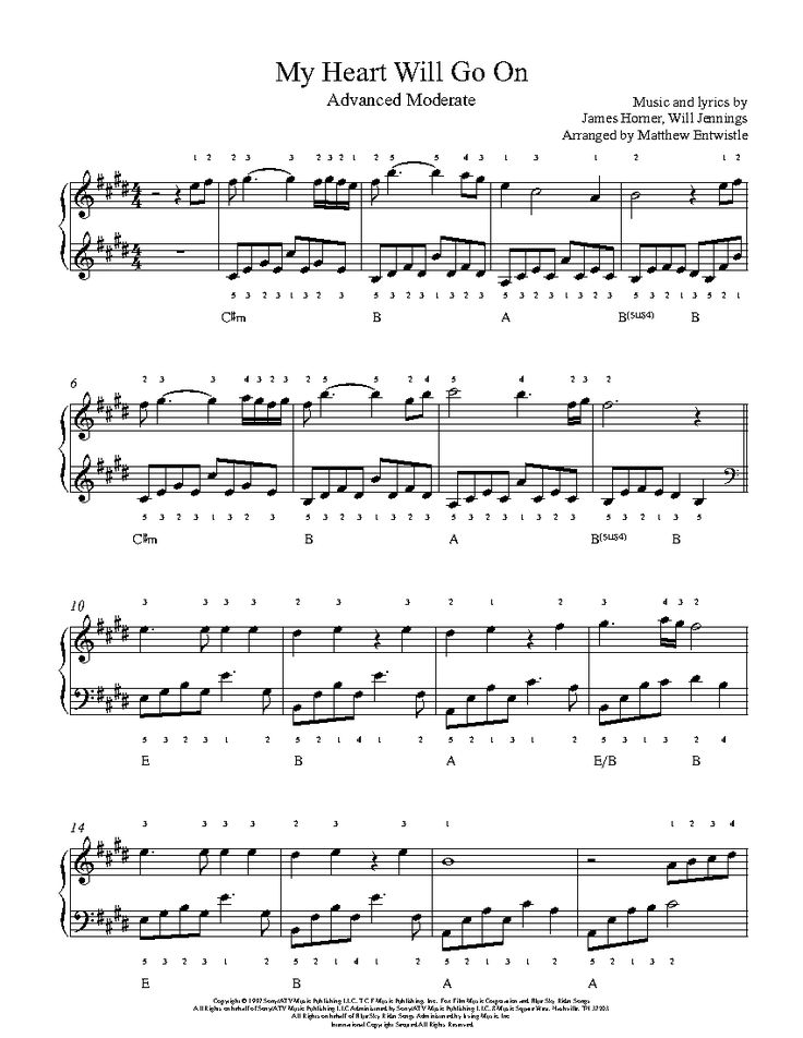 My Heart Will Go On by Celine Dion Piano Sheet Music | Advanced Level