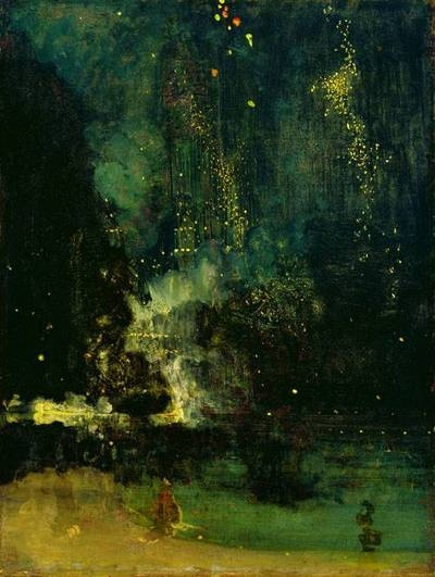 James McNeill Whistler - Nocturne in Black and Gold: The Falling Rocket (ca. 1872-75), one of the paintings that inspired Debussy to compose his Trois Nocturnes.