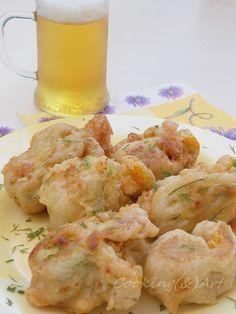 Κολοκυθοανθοί γεμιστοί με τυριά & κουρκούτι μπύρας