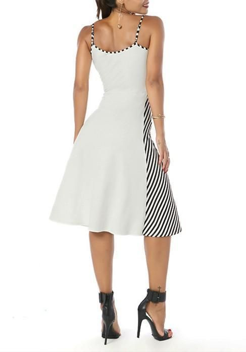 880eced2766a5e White Striped Irregular Condole Belt Sleeveless Below Knee Midi Dress