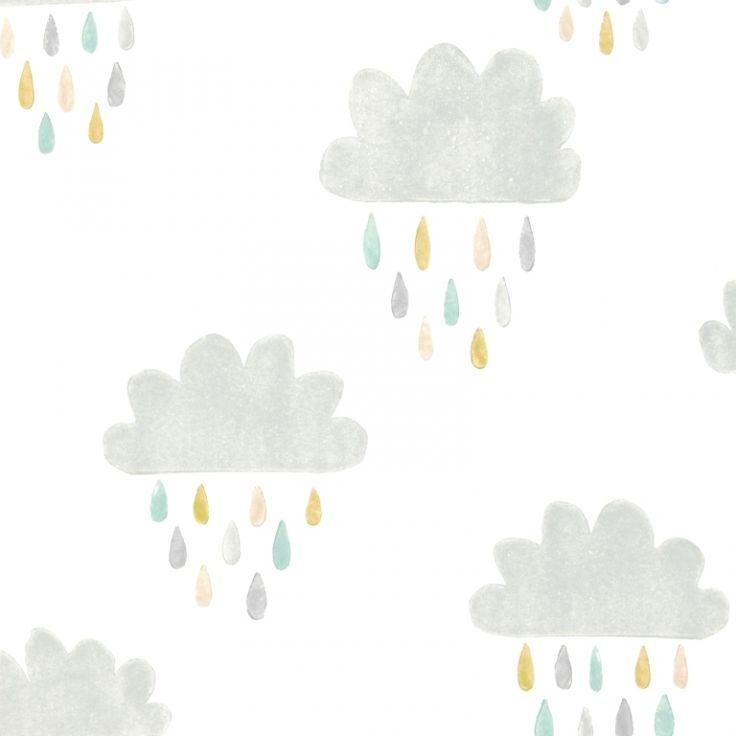 Kindertapete Wolken grau/helltürkis/honig 'Guess who'