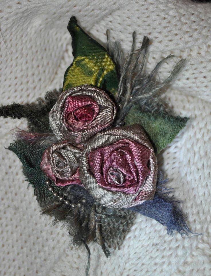 pink 100% silk 10 cm flower hair clip slide brooch dress pin vtg swing pin-up s
