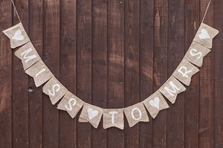 MISS TO MRS With Hearts Bridal Shower Bunting - Vintage Handmade Decoration Burlap / Hessian Bunting Shabby Chic Rustic Banner Engagement by MadeByMeAndMum on Etsy