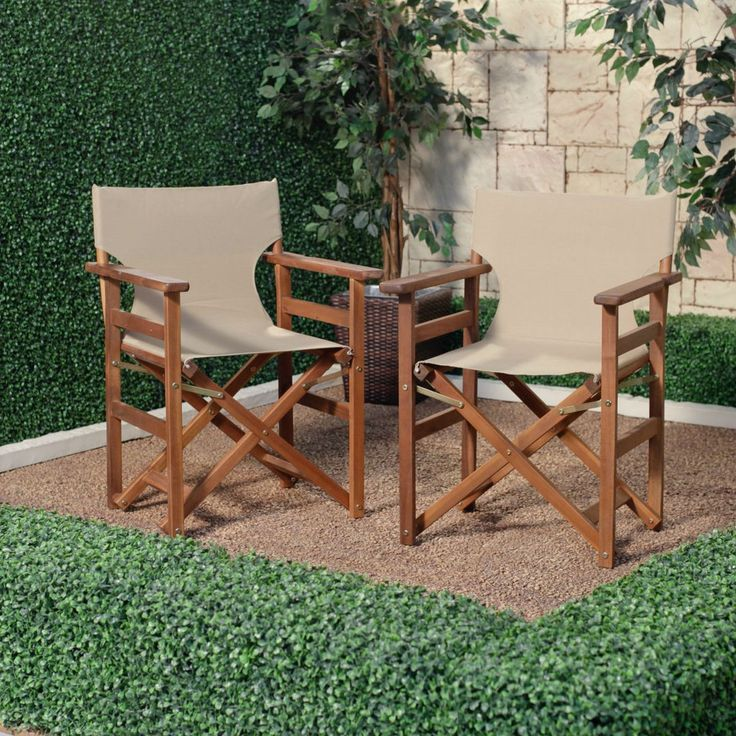 Set of 2 Outdoor Patio Garden Directors Chair with Khaki Fabric Seat