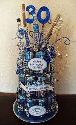 Life on E Avenue: Beer cake diy (30 beers for 30 years!) #beergifts