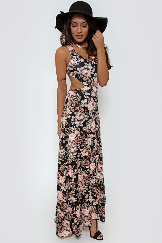 Poppy Cross Back Floral Maxi Dress