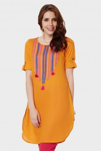 GLOBAL DESI Embroidered Roll-Up Sleeves Kurti