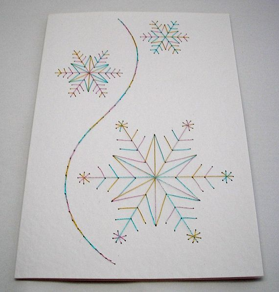 Hand Embroidered Snowflakes Christmas by StitchyStationery on Etsy, £3.50