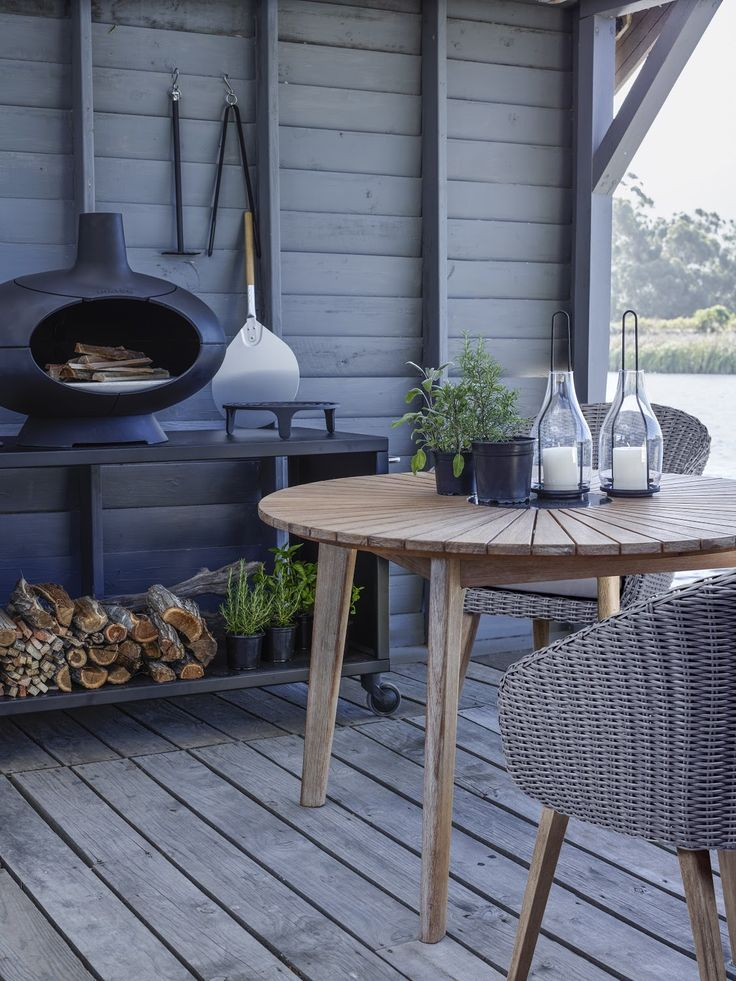 A striking design makes this Scandi table and chairs an exciting addition to any outdoor space. Using Scandinavian inspiration, the set is simple and contemporary, where the round weave chairs and timber table help to emphasise a tone of comfort and peace, with its natural soft colours and curvature.