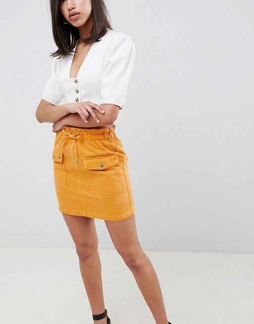 59f84c0d5d18f DESIGN denim paperbag skirt in mustard