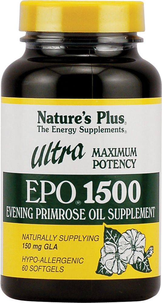 Nature's Plus Ultra EPO® 1500. Every woman should be taking Evening Primrose Oil. Great Anti-Aging supplement. Will see major improvement in skin tightening and preventing wrinkles. Helps with hormonal acne, PMS, weight control, chronic headaches, menopause, endometriosis, joint pain, diabetes, eczema, MS, infertility, hair, nails, and scalp. This dosage has alleviated my hot flashes for 15 years.