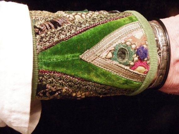 Cuff Green Indian Uzbek Embroidery Peace Cuff by hatsbybuck, $65.00