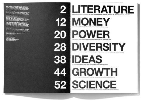 Table of Contents ----------------------------- large font for certain sections of the book?