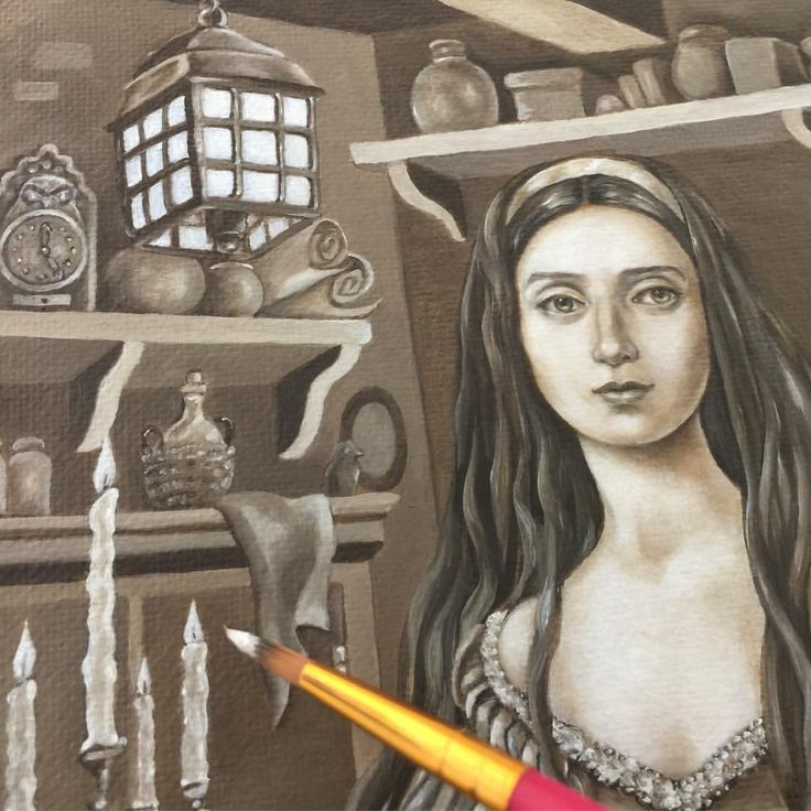 "Eeva Nikunen (@eevanikunen) on Instagram: ""I'm still working on the underpainting for Snow White 🍎. I'm trying to paint as much detail as I…"""