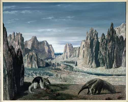 """Miereneters in landschap (Anteaters in Landscape)"", 1958 / Carel Willink (1900-1983) / Collection F. Fopma, Amsterdam, The Netherlands"