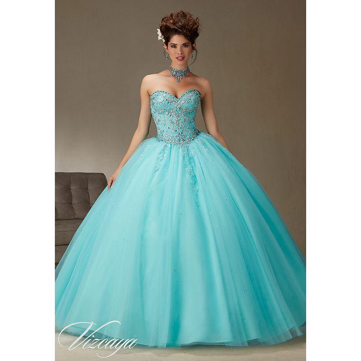 Пышное платье новое поступление 2016 аква бал-маскарад платья сладкие 16 платья милая бисером вышивка тюль куртка