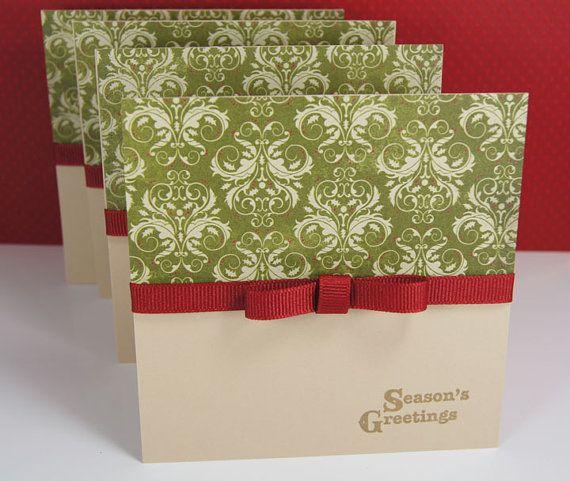 Damask Handmade Christmas Cards