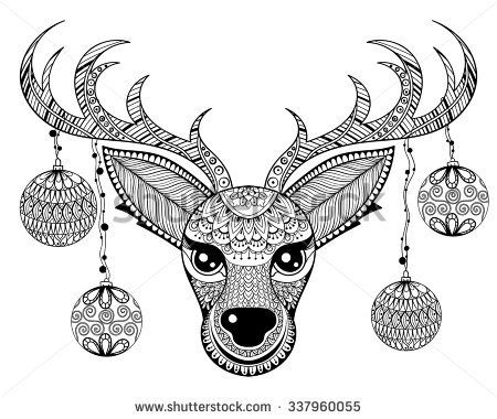 stock-vector-zentangle-vector-reindeer-face-with-christmas-decoration-balls-for-adult-anti-stress-coloring-pages-337960055.jpg (450×380)