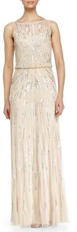 Aidan Mattox Illusion-Neck Beaded Gown, Champagne