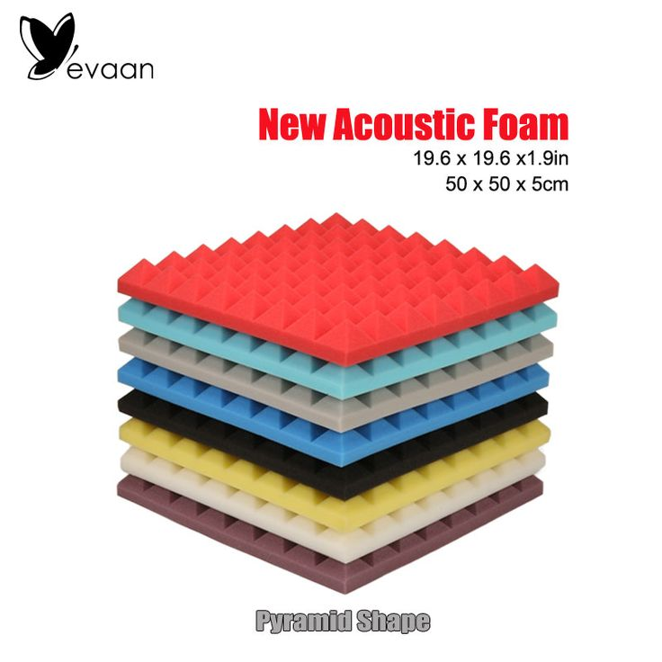 EVAAN New Wall Stickers 19.6*19.6*1.96inch Pyramid Shape Soundproof foam panels Acoustic Foam Panels Sound Insulation Studio