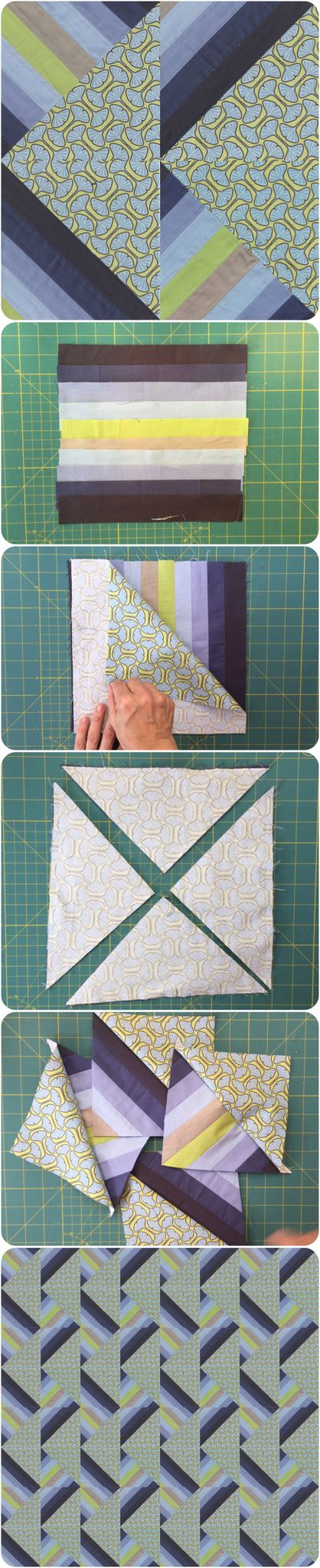 Half and Half Square Triangle quilt block