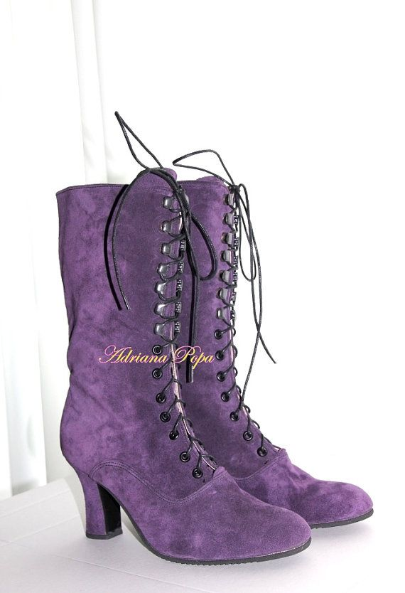 Amethyst Victorian Boots Purple Victorian Boots Edwardian. I adore these!