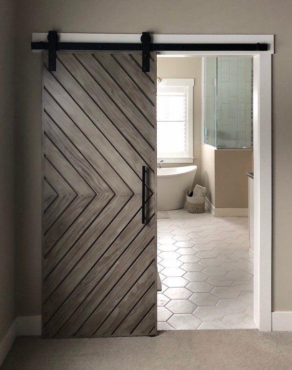 111 Reference Of Barn Door Chevron Contemporary In 2020 Barn Door Designs Modern Barn Door Modern Sliding Doors
