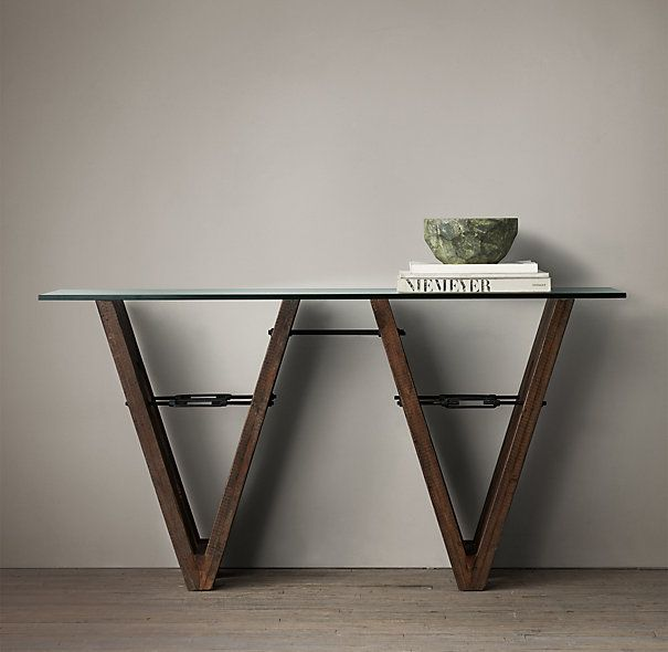 Now is the time to buy this - the most beautiful console  ( or is it sculpture?). 20% off at RH($1495) Reclaimed Wood & Glass V-Form Console Table
