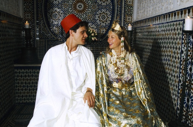 French pop singer Marc Lavoine and Sarah Poniatowski celebrate their wedding in Marrakech, where they take the opportunity to dress up in traditional Moroccan wedding wear.