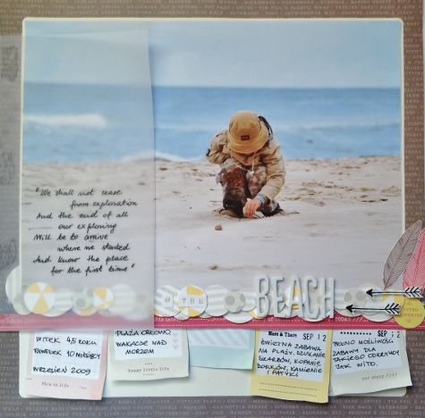Beach - by Monika Glod using the Dear Lizzy 5th & Frolic collection from American Crafts. #scrapbooking #dearlizzy #layout #beach