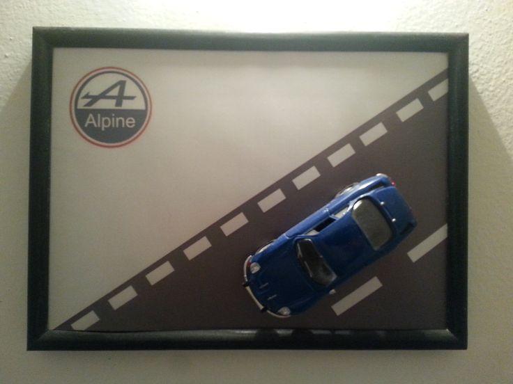 Wooden frame, car model Renault Alpine A110, 1:43