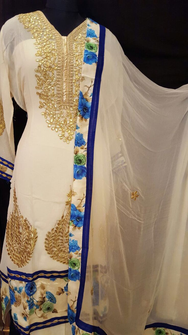 2 colour.  Gotta patti on gorgette with thread work on gherkin.  RAW silk borders.Cream colour.  2 shades. Gotta patti.  RAW silk borders.  PURE CHIFFON DUPATTA on both design.  With bootis .  SHANTOON BOTTOM.  Both design can stich upto 50 size 5500/- with shipping 8802300456