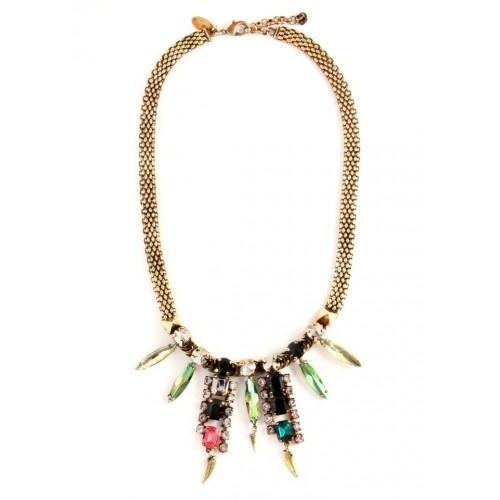 Iosselliani - Brass Necklace with Rhinestones