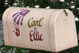 Paint a mailbox like carl and ellie, use it to collect cards at the reception :)
